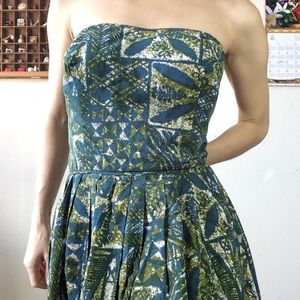 Vintage Dresses - Vintage Cocktail Dress Tropical Print 50's
